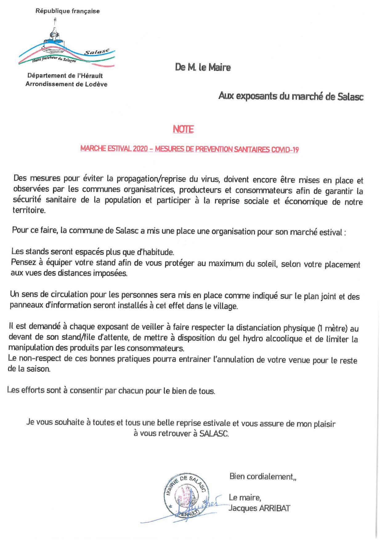 Infos COVID-19 marché Salasc